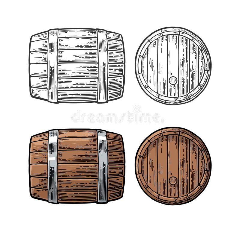 Wooden barrel front and side view engraving vector illustration. Wooden barrel front and side view. Color and black vintage engraving vector illustration. on royalty free illustration