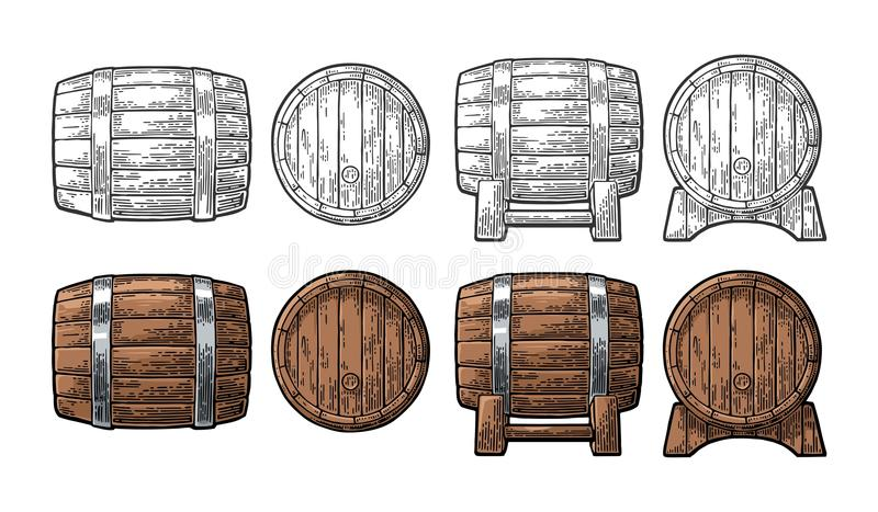 Wooden barrel front and side view engraving vector illustration. Wooden barrel front and side view. Color and black vintage engraving vector illustration royalty free illustration