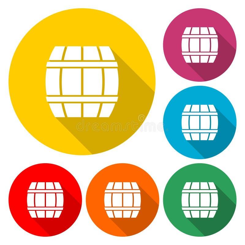Wooden Barrel icon Vector - Illustration. Vector icon set vector illustration