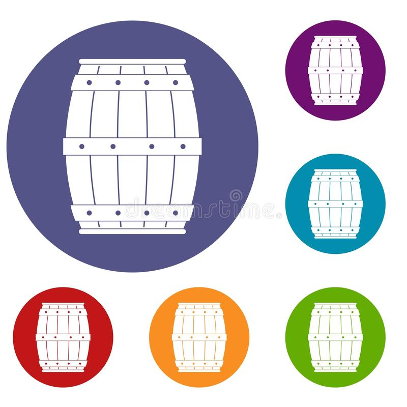 Wooden barrel icons set. In flat circle red, blue and green color for web vector illustration