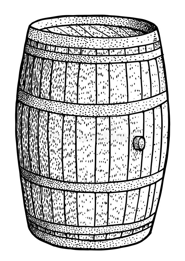 Free Wooden Barrel Illustration, Drawing, Engraving, Ink, Line Art, Vector Royalty Free Stock Photo - 108388165