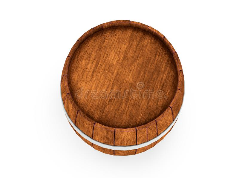 Wooden barrel with iron hoops isolated on white background. 3d rendering. Old barrel with rust on the hoops. Front view. Wooden barrel with iron hoops isolated stock image