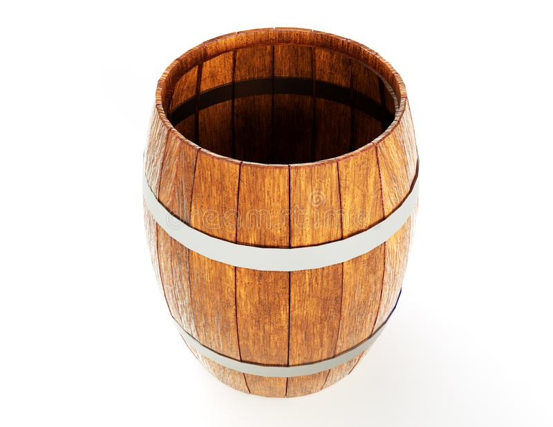Wooden barrel with iron hoops isolated on white background. 3d rendering. Old barrel with rust on the hoops. Front view stock illustration