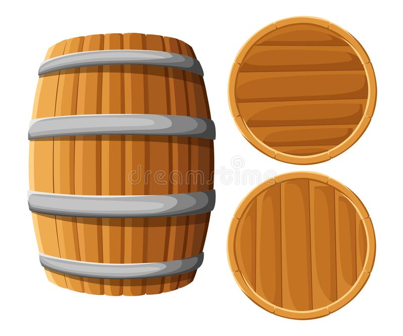 Wooden barrel with iron rings. Isolated on white background. Vector wood beer barrel. Pub and bar menu, alcohol beverage label, br. Ewery symbol design. Website royalty free illustration
