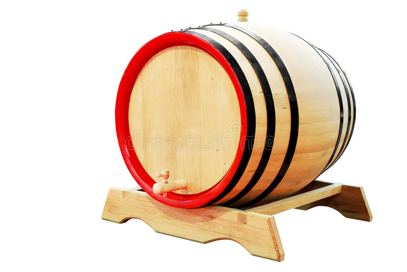 Wooden barrel isolated. On white background royalty free stock photography