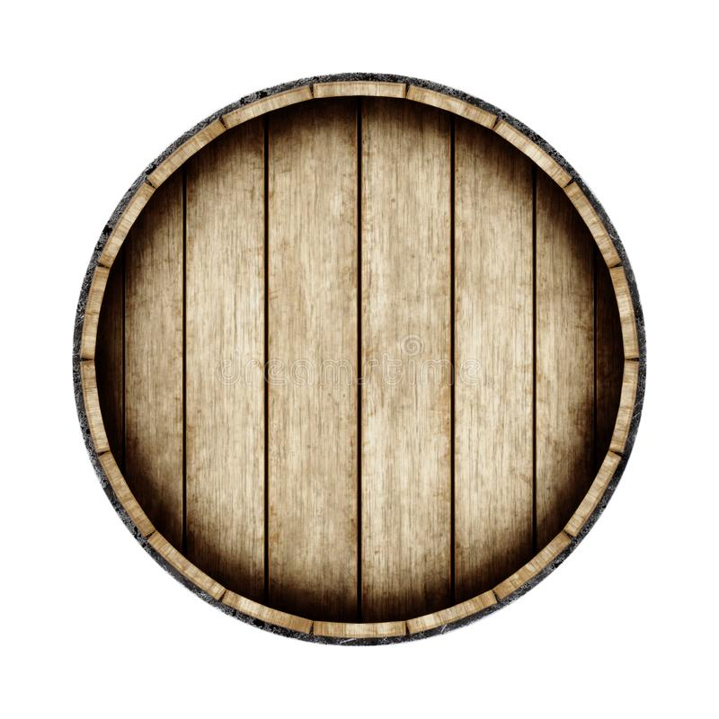 Wooden barrel isolated on white background, top view. 3d rendering. stock illustration