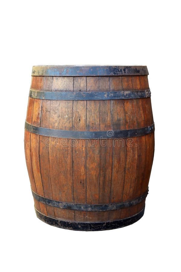 Wooden barrel isolated on white background stock images