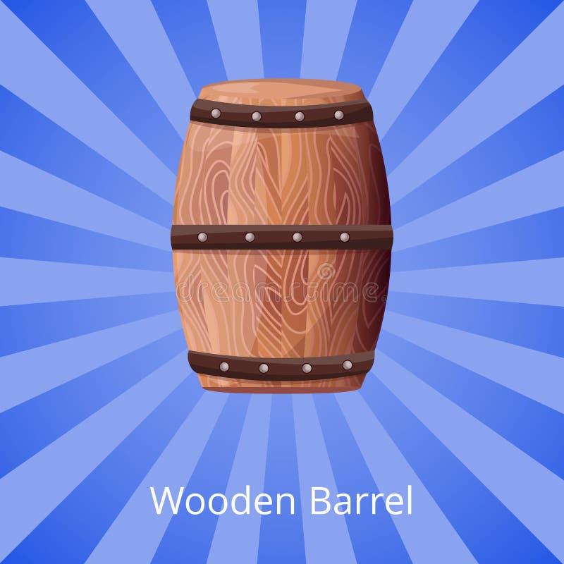 Wooden Barrel for Long Term Tasty Wine Storage. Wooden barrel for long term wine storage. Container to keep vino for longer fermentation and better taste royalty free illustration