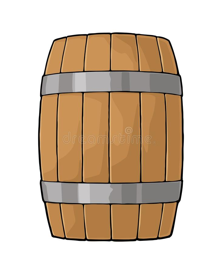 Wooden barrel with metal hoops engraving vector illustration royalty free illustration