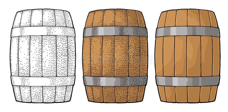 Wooden barrel with metal hoops engraving vector illustration vector illustration