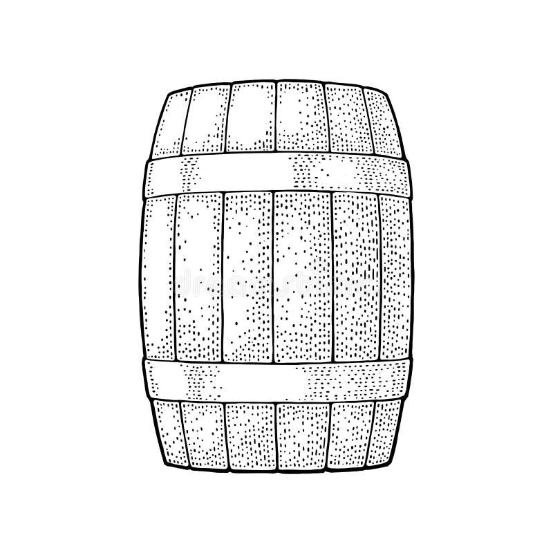 Wooden barrel with metal hoops engraving vector illustration stock illustration