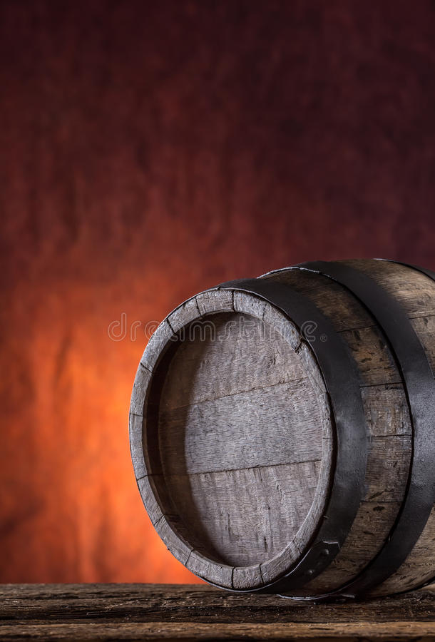 Wooden barrel. Old wooden keg. Barel on beer vine whiskey brandy or cognac stock photography