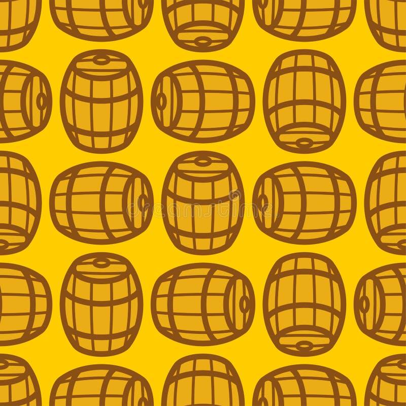 Wooden barrel pattern seamless. wood keg background. cask vector texture stock illustration