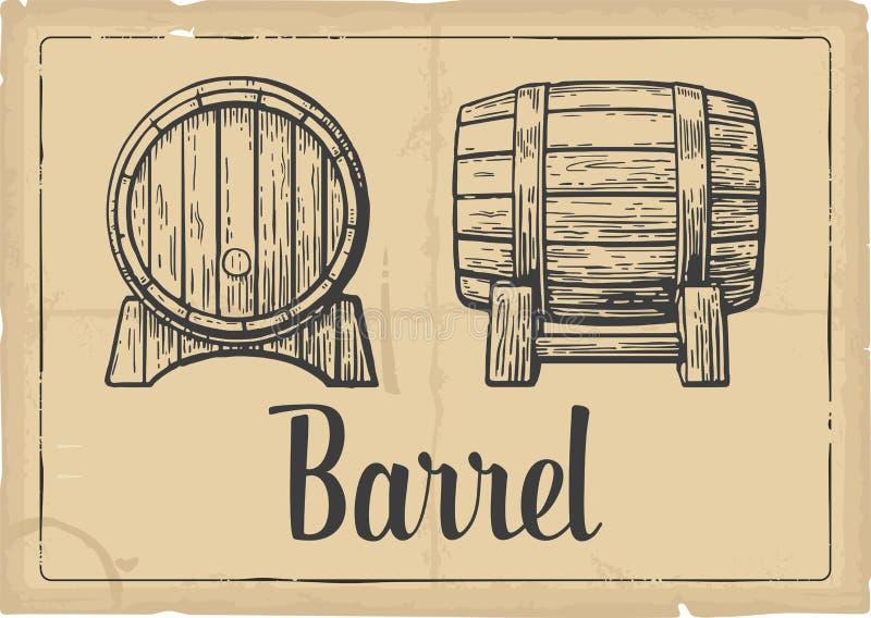Wooden barrel set engraving vector illustration. Black and white vintage . royalty free illustration
