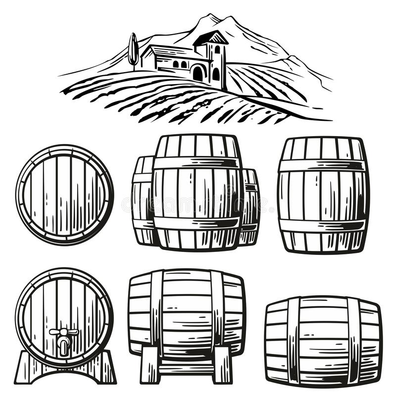 Wooden barrel set and rural landscape with villa, vineyard fields, hills, mountains. Black and white vintage vector illustration stock illustration