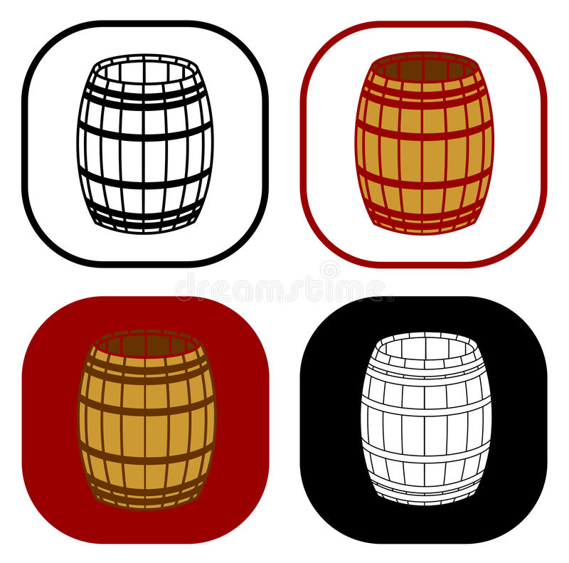 Wooden barrel set. On white background royalty free illustration