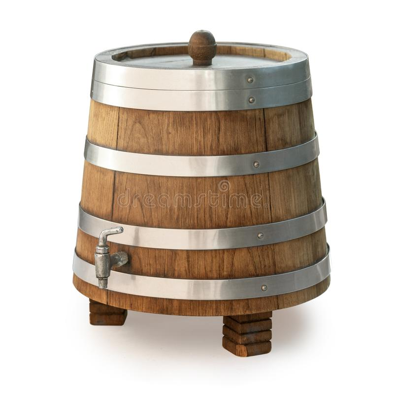Wooden barrel with tap isolated stock photo