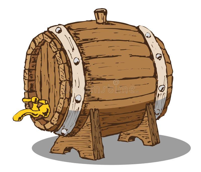 Wooden barrel. Vector hand draw doodle sketch wooden beer barrel cartoon vector illustration