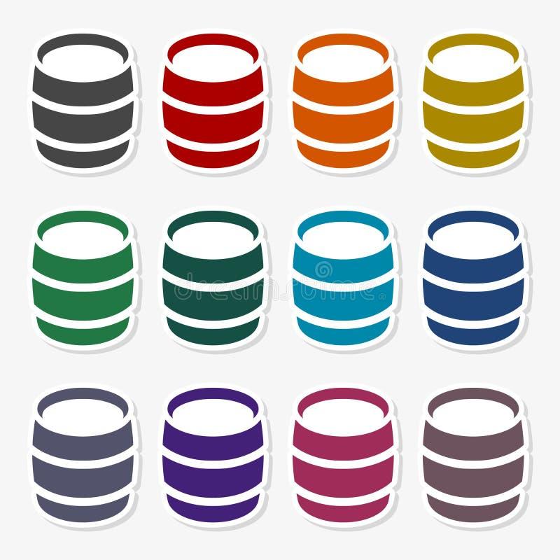 Wooden Barrel Vector - Illustration. Vector icon set royalty free illustration
