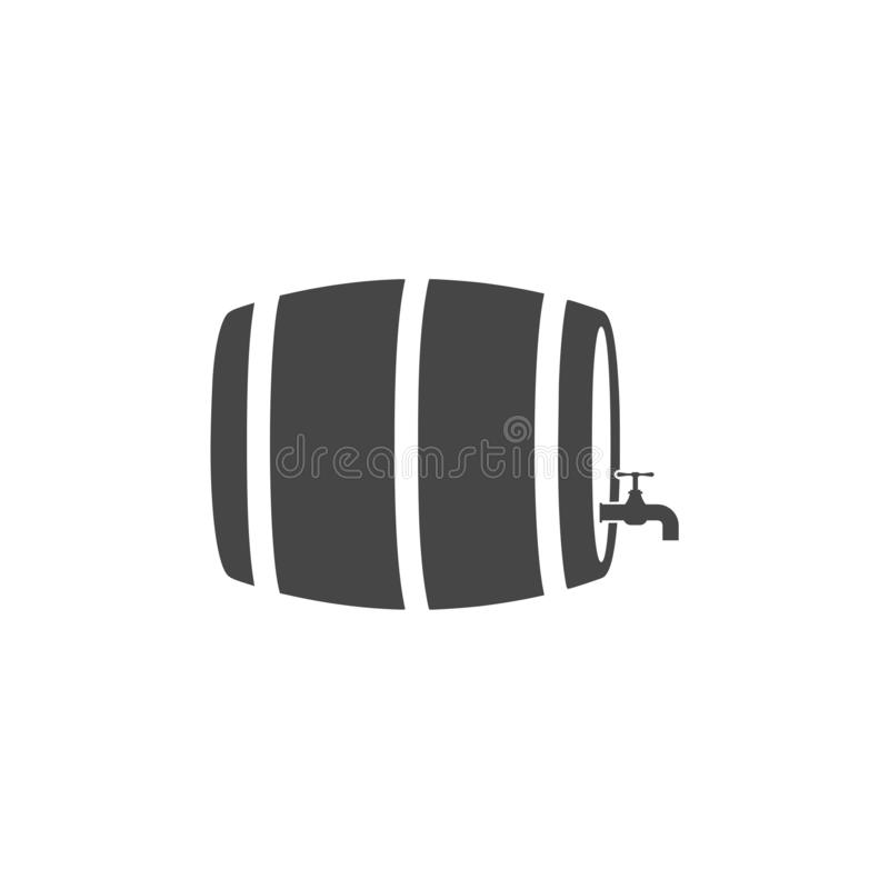 Wooden Barrel Vector - Illustration. Vector icon set stock illustration