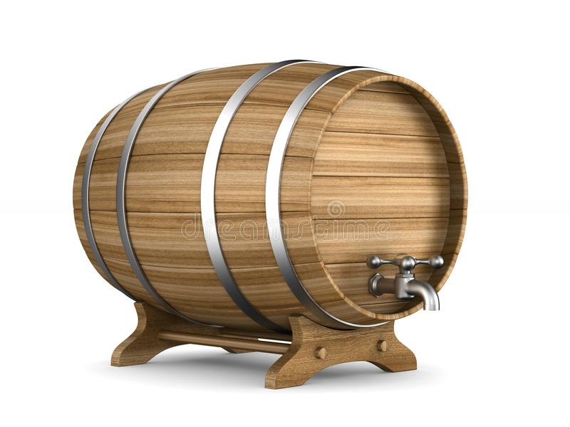 Wooden barrel on white background. Isolated 3D illustration.  royalty free illustration