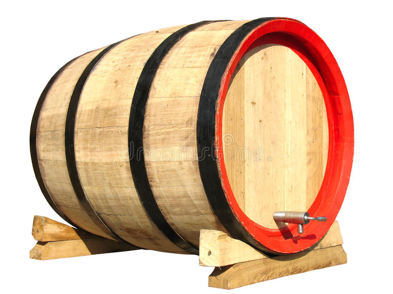 Wooden Barrel For Wine Isolated Stock Photography