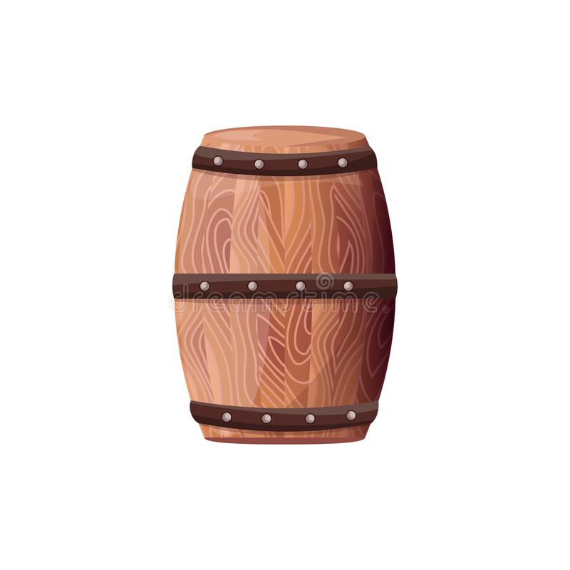 Wooden Barrel with Wine Vector on White Container royalty free illustration