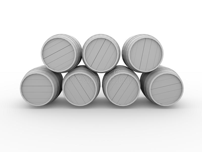 Wooden barrels. Illustration of some wooden barrels in white. 3d render stock illustration