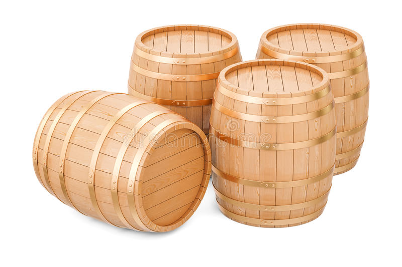 Wooden barrels, 3D rendering. Isolated on white background vector illustration
