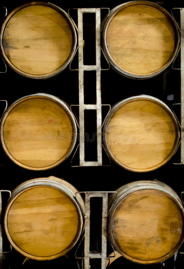 Wooden Barrels of wine or whisky royalty free stock images