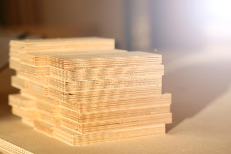 Wooden bars lying in a row closeup royalty free stock photography