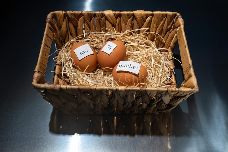 Wooden basket with hay and three eggs with notes `100`, `%`, `quality` is on the black transparent table/background. World Quality stock photo