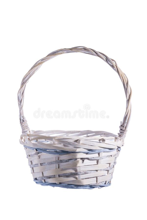 Wooden basket isolated on white background. Close-up, empty for your products, blank for design, selective focus royalty free stock images