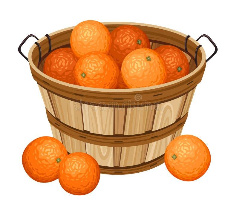 Wooden basket with oranges. Vector illustration of wooden basket with oranges isolated on a white background stock illustration