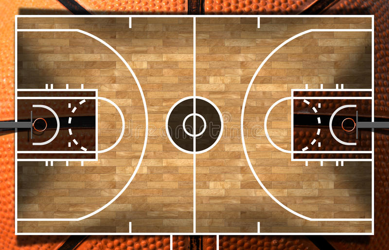 Wooden Basketball Court with Parquet. Realistic 3D illustration of a basketball court with wooden floor (parquet) and orange and black ball royalty free illustration