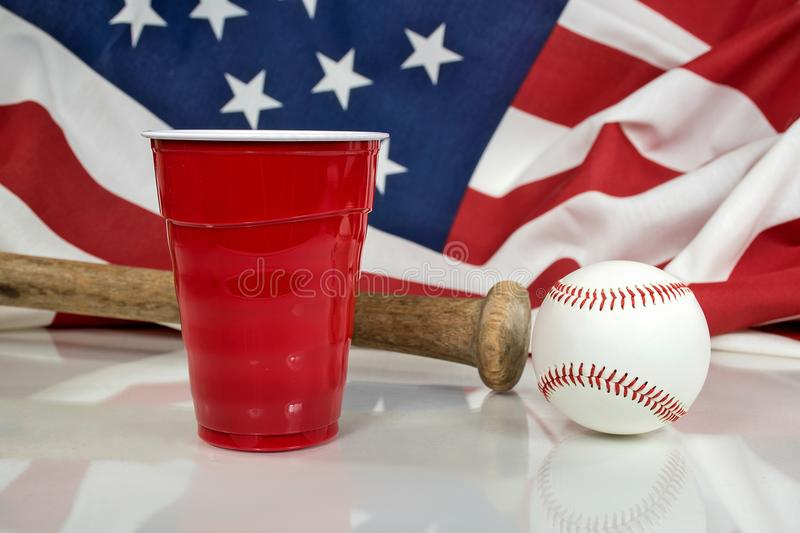 Red party cup with baseball and bat stock photos