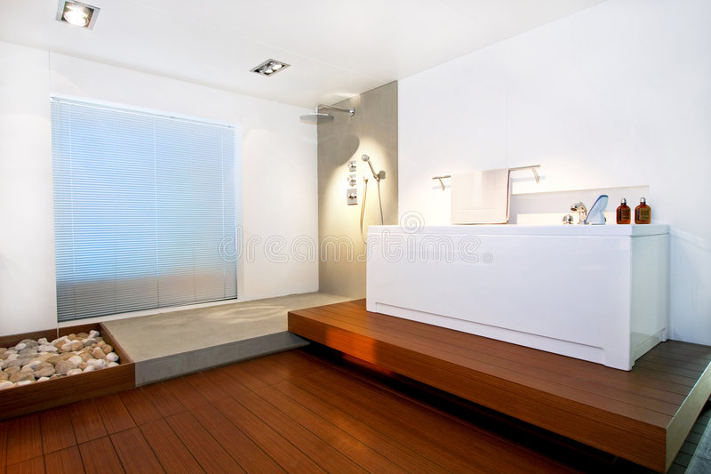 Wooden bath 2. Wooden floor bathroom with shower and bathtub royalty free stock images