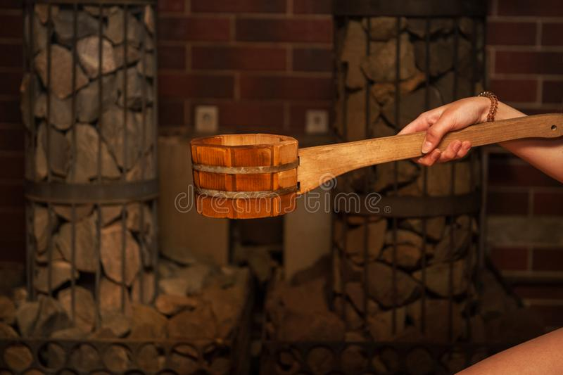 Wooden bath accessories stock photography