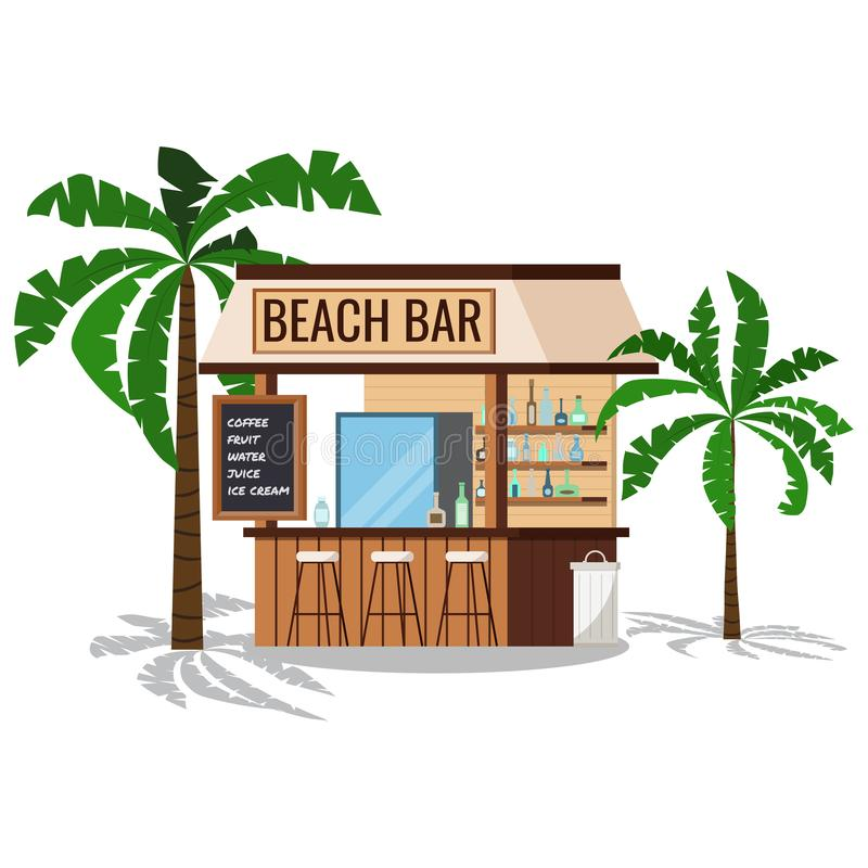 Wooden beach bar with palms tree, chair, trashcan with shadows isolated on white background. Summer restaurant with friger selling cold alcohol drinks, water vector illustration