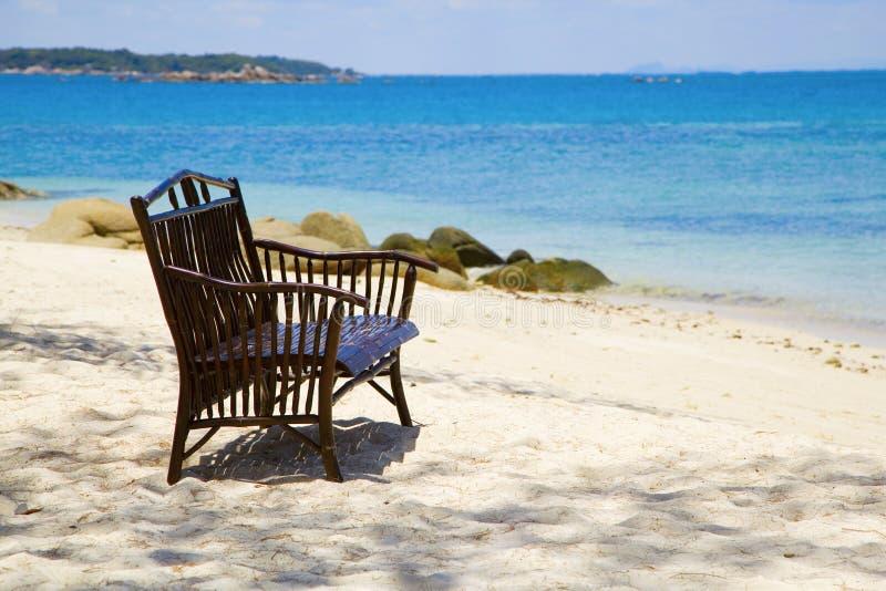 Wooden Beach Bench And The Sea Stock Photos