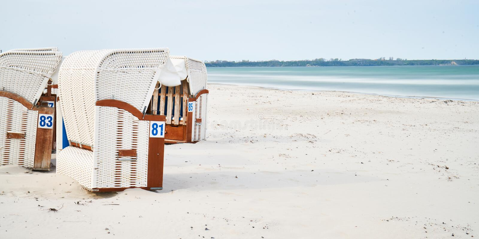 Wooden beach chairs, Rugen Island, Germany royalty free stock images