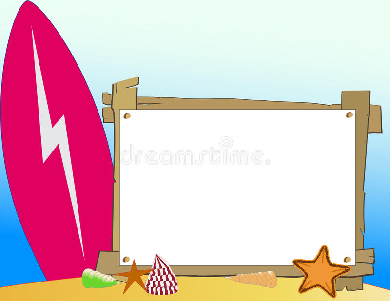 Download Wooden Beach Frame stock vector. Illustration of surfboard - 17677033