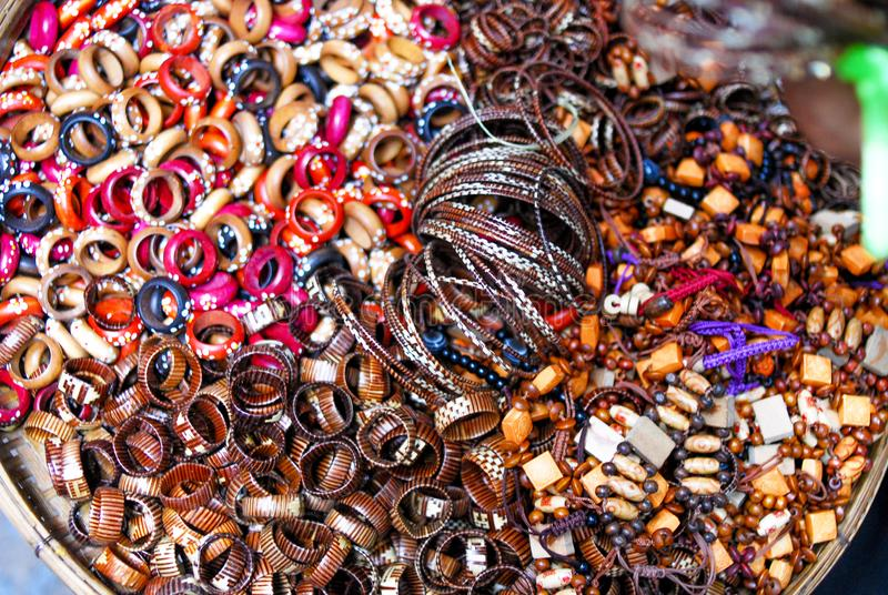 Wooden bead bracelets and ring royalty free stock image