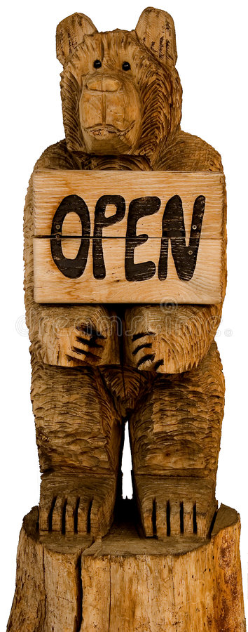 Download Wooden Bear With Open For Business Sign Stock Photo - Image: 1704434
