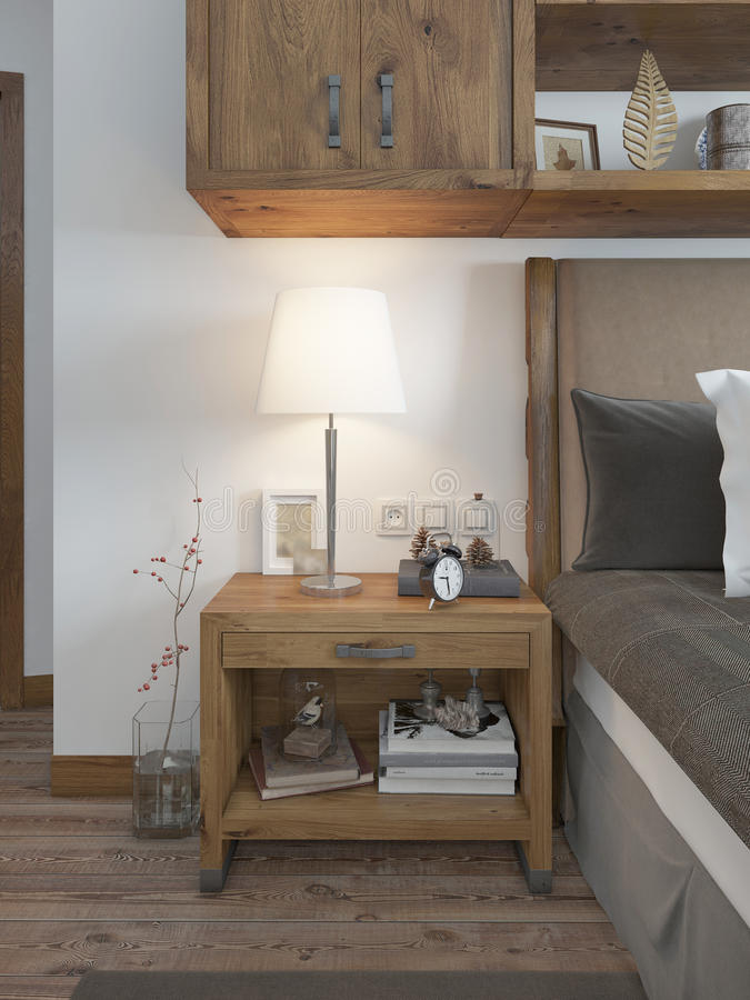 Wooden bedside table with a niche for the decor. Bedside table with lamp and books beside the bed. A bed in a rustic style. 3D render stock photography