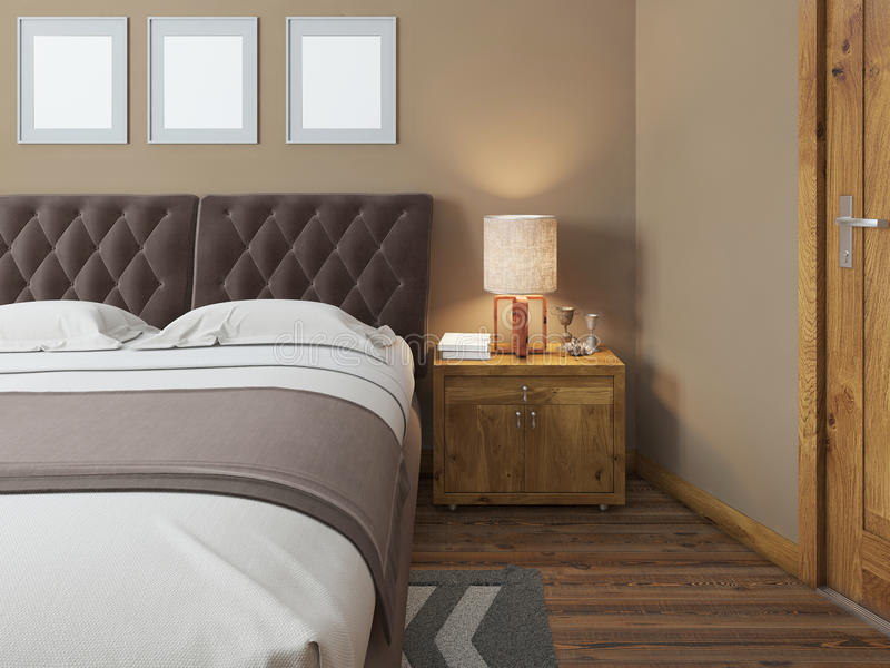 Wooden bedside tables with expressive textures in a modern bedroom. On the bedside table lamps in a rustic style decor. Headboard quilted brown. The bedroom in vector illustration