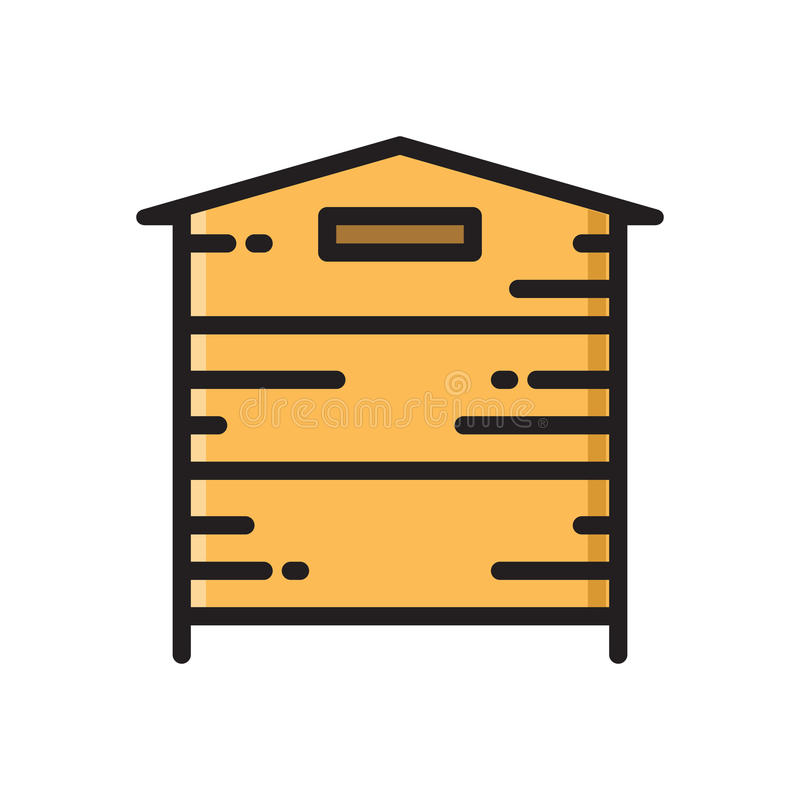 Wooden beehive, bee hive thin line flat style icon royalty free illustration
