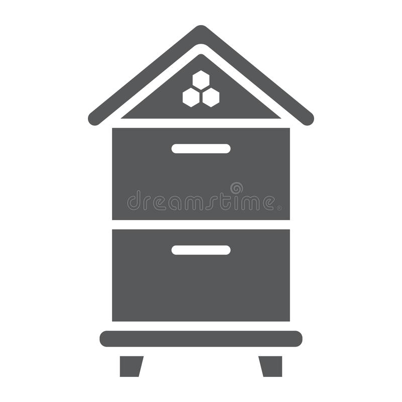 Wooden beehive glyph icon, farming vector illustration