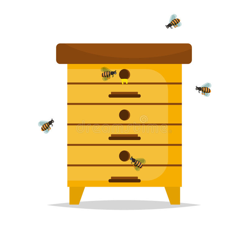 Wooden Beehive on white background. vector illustration