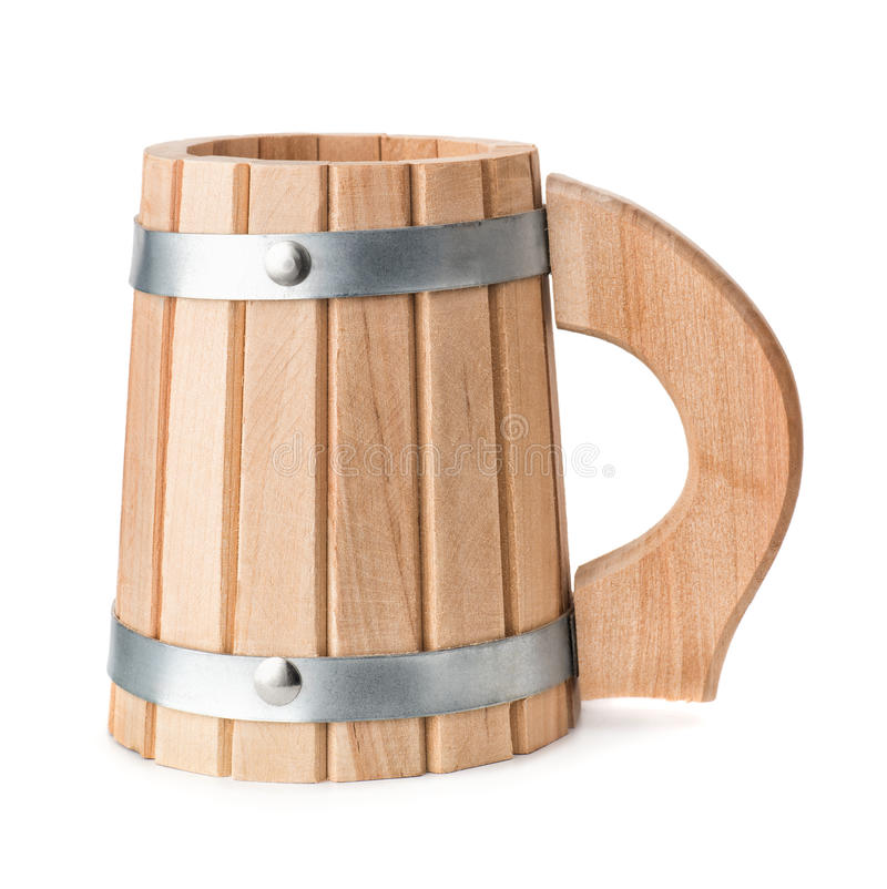Wooden beer mug. Empty wooden beer mug isolated on white royalty free stock image